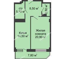 1 комнатная квартира 55,7 м², ЖК Крылья Ростова - планировка