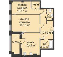 2 комнатная квартира 66,29 м² в ЖК Премиум, дом №1
