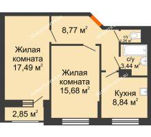 2 комнатная квартира 56,91 м², Жилой дом: ул. Сухопутная - планировка