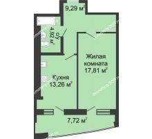 1 комнатная квартира 53 м² в ЖК Тихий Дон, дом № 2 - планировка
