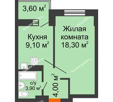 1 комнатная квартира 38,9 м², ЖК Zапад (Запад) - планировка
