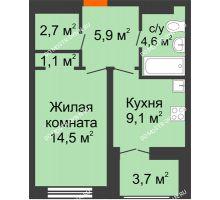 1 комнатная квартира 39,75 м² в ЖК Заречье, дом № 1, секция 1 - планировка