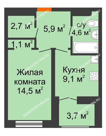 1 комнатная квартира 39,75 м² в ЖК Заречье, дом №1, секция 2