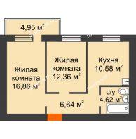 2 комнатная квартира 52,55 м², ЖК Новая Жизнь - планировка