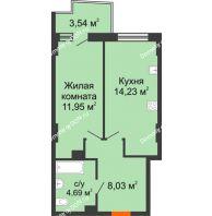 1 комнатная квартира 39,76 м² в ЖК Сердце Ростова 2, дом Литер 8 - планировка