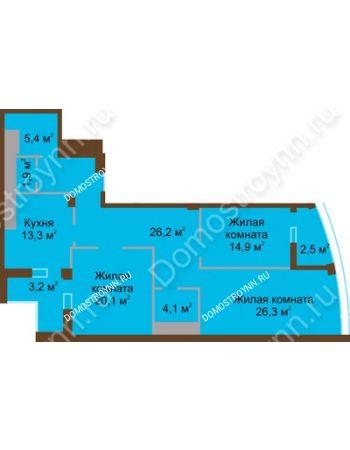 3 комнатная квартира 117,9 м² в ЖК Монолит, дом № 89, корп. 1, 2