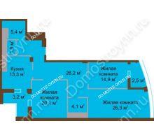 3 комнатная квартира 117,9 м² в ЖК Монолит, дом № 89, корп. 1, 2 - планировка