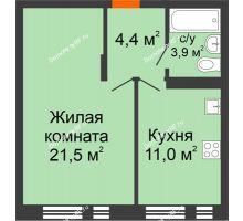 1 комнатная квартира 40,8 м² в ЖК Андерсен парк, дом ГП-2 - планировка