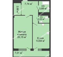 1 комнатная квартира 52,6 м² в  ЖК РИИЖТский Уют, дом Секция 1-2 - планировка