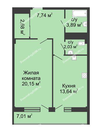 1 комнатная квартира 52,6 м² в  ЖК РИИЖТский Уют, дом Секция 1-2