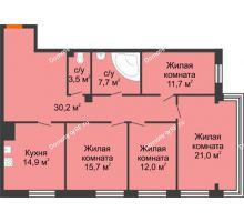4 комнатная квартира 116,7 м², Клубный дом Green Вита (Грин Вита) - планировка