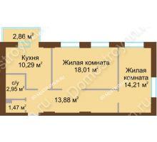2 комнатная квартира 61,67 м² в ЖК Солнечный, дом № 3 - планировка