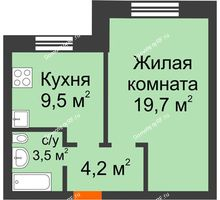 1 комнатная квартира 36,9 м² в ЖК Видный, дом № 2