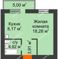 1 комнатная квартира 36,48 м², ЖК Новая Жизнь - планировка