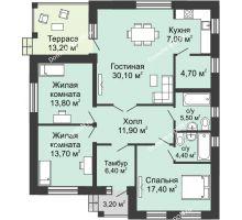 3 комнатная квартира 119,9 м² в КП Legenda (Легенда), дом 4 очередь — ЗУ118, 119,9 м² - планировка