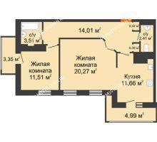 2 комнатная квартира 72,52 м² в ЖК Покровский, дом № 1