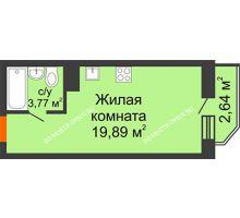 Студия 24,5 м² в ЖК Академический, дом № 15 - планировка