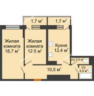 2 комнатная квартира 62,8 м² в Фруктовый квартал Абрикосово, дом Литер 3 - планировка