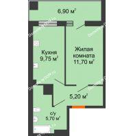 1 комнатная квартира 34,4 м² в ЖК Грин Парк, дом Литер 1 - планировка