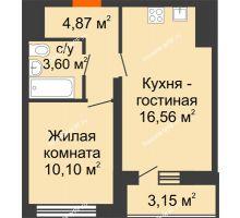 1 комнатная квартира 36,7 м², НЕБО на Ленинском, 215В - планировка