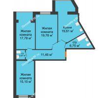 3 комнатная квартира 93,32 м² в ЖК Бунина парк, дом 3 этап, блок-секция 3 С - планировка