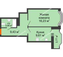 1 комнатная квартира 41,36 м², ЖК Каскад на Менделеева - планировка