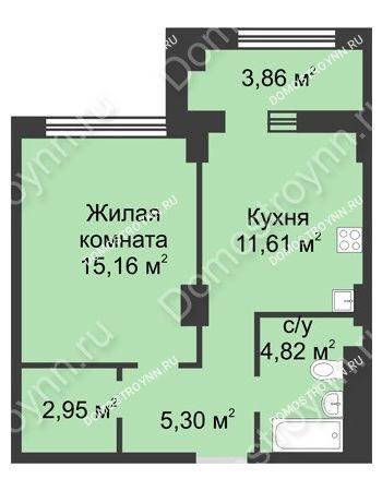 1 комнатная квартира 41,77 м² в ЖК Караваиха, дом № 5
