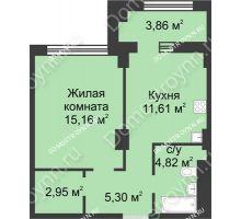 1 комнатная квартира 41,77 м² в ЖК Караваиха, дом № 5 - планировка