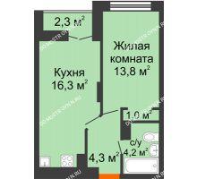 1 комнатная квартира 40,75 м² в ЖК Заречье, дом № 1, секция 1 - планировка