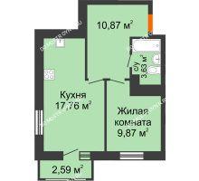 1 комнатная квартира 44,72 м² в ЖК Книги, дом № 1 - планировка