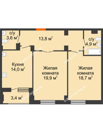 2 комнатная квартира 76,6 м² в ЖК Квартет, дом № 3