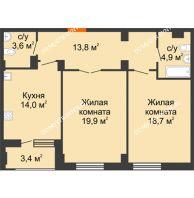 2 комнатная квартира 76,6 м² в ЖК Квартет, дом № 3 - планировка