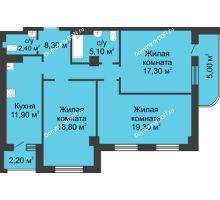 3 комнатная квартира 84,7 м², ЖК 8 марта - планировка