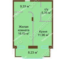 1 комнатная квартира 51,79 м² в ЖК Солнечный город, дом на участке № 208