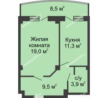 1 комнатная квартира 48 м² в ЖК Новый Город, дом № 2 - планировка