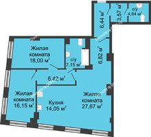 3 комнатная квартира 110,91 м², ЖК Гранд Панорама - планировка