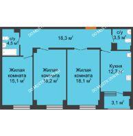 3 комнатная квартира 91,95 м² в ЖК Квартет, дом № 3 - планировка