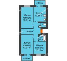 3 комнатная квартира 86,31 м² в ЖК Живём, дом квартал 3, дом № 2 - планировка