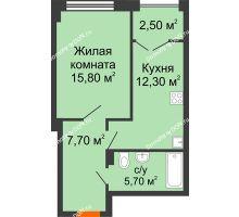 1 комнатная квартира 44 м², ЖК Гагарин - планировка