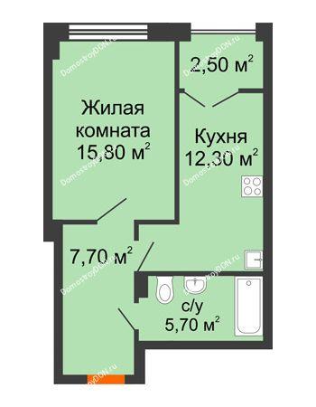 1 комнатная квартира 44 м² - ЖК Гагарин
