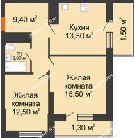 2 комнатная квартира 57,7 м², ЖК Клубный дом на Мечникова - планировка