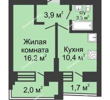 1 комнатная квартира 37,7 м² в ЖК Династия, дом Литер 1 - планировка