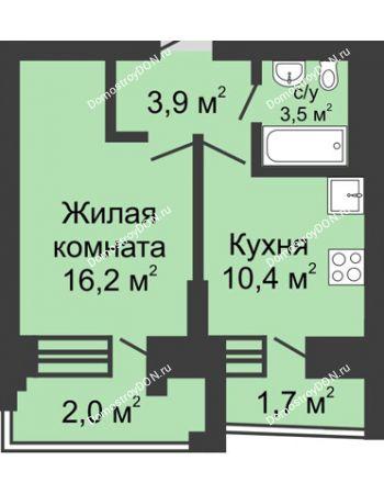 1 комнатная квартира 37,7 м² в ЖК Династия, дом Литер 1