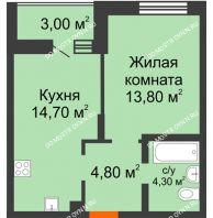 1 комнатная квартира 40,6 м² в ЖК Подкова на Цветочной, дом № 8 - планировка