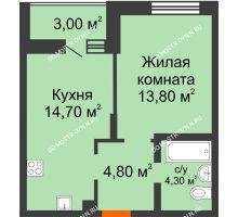 1 комнатная квартира 39,1 м² в ЖК Подкова на Цветочной, дом № 8 - планировка