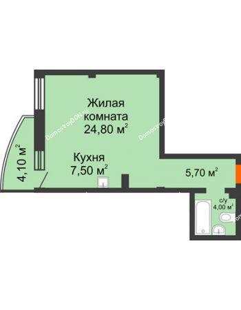 1 комнатная квартира 43 м² - ЖК Южная Башня