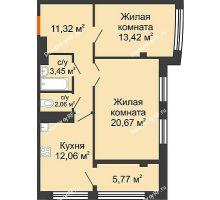 2 комнатная квартира 68,75 м² в ЖК Малахит, дом № 1 - планировка