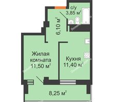 1 комнатная квартира 41,1 м², ЖК Вершина - планировка
