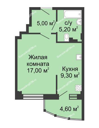 1 комнатная квартира 41,1 м² в ЖК Мега, дом № 2