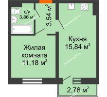 1 комнатная квартира 35,25 м², ЖК Инстеп.Победа - планировка